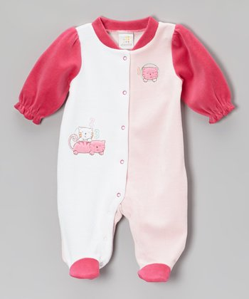 Pink Counting Kittens Footie - Infant