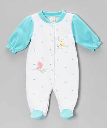 Turquoise Hearts & Birds Footie - Infant