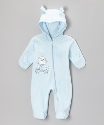 Blue Monkey Hooded Footie - Infant