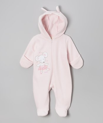 Pink Ballerina Mouse Hooded Footie - Infant
