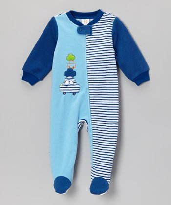 Absorba Blue Cars Footie - Infant & Toddler