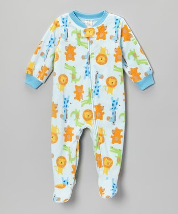 Blue Zoo Animals Footie - Infant