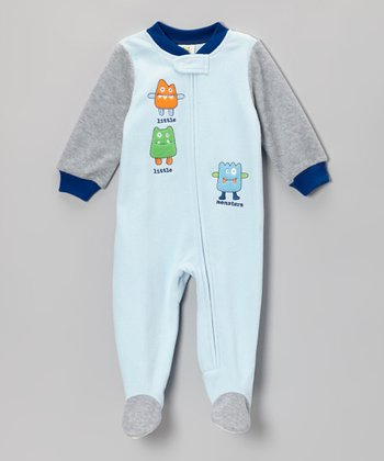 Blue 'Little Monsters' Footie - Infant