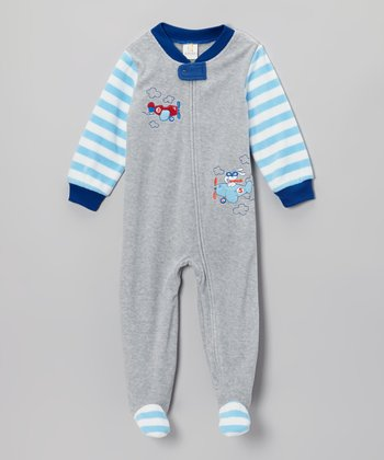Absorba Gray Airplanes Footie - Toddler