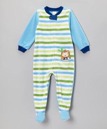 Absorba Blue Stripe Lion Footie - Toddler