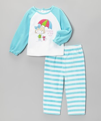 Turquoise 'Singing in the Rain' Pajama Set - Girls
