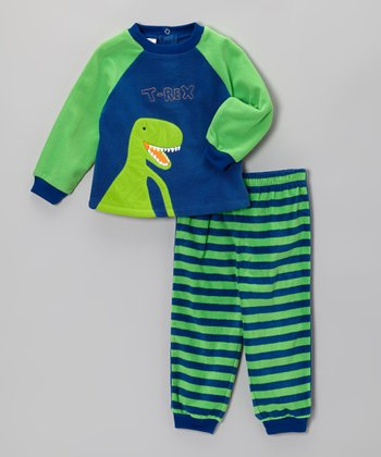 Absorba Blue 'T-Rex' Pajama Set - Boys