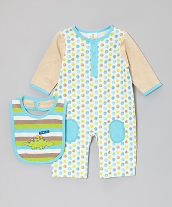 Tan & Blue Dino Playsuit & Bib - Infant