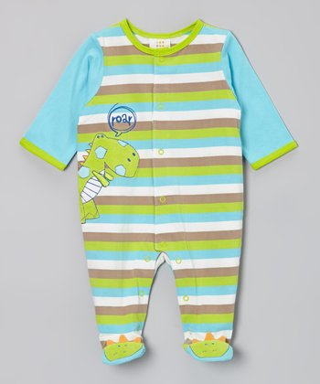 Blue & Green Dino Footie - Infant