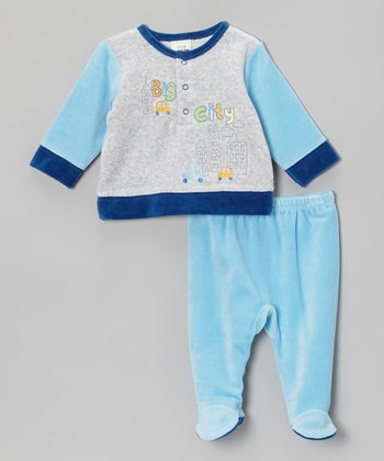 Absorba Blue & Gray 'Big City' Velour Top & Footie Pants - Infant