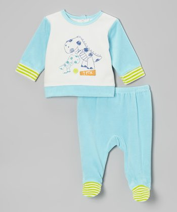 Absorba Blue & White Dino Top & Footie Pants - Infant