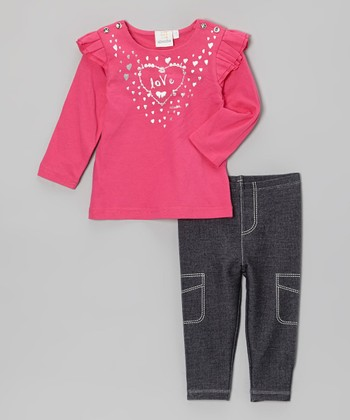 Hot Pink & Denim Tunic & Leggings - Infant & Toddler