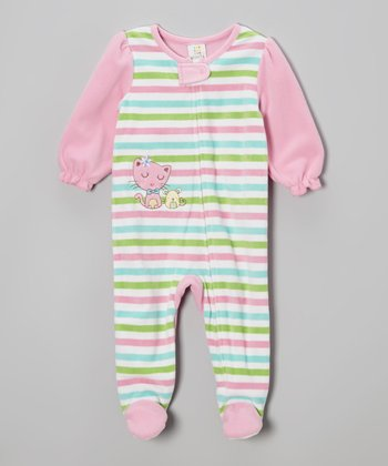 Pink & Green Stripe Kitty Footie - Infant & Toddler