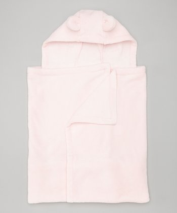 Pink Fleece Hooded Blanket