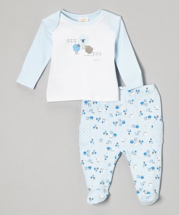 Absorba Blue Sheep Tee & Footie Pants