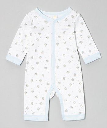 Absorba Blue & White Teddy Bear Playsuit