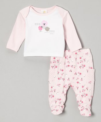 Pink & White Sheep Tee & Footie Pants