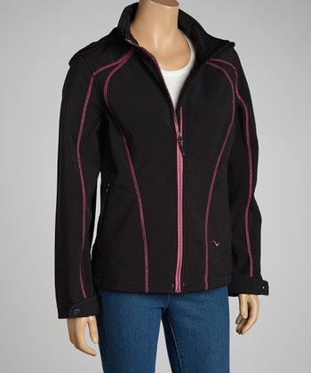 Black & Pink Hooded Soft-Shell Jacket