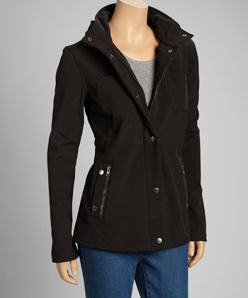 Black Hooded Soft-Shell Jacket