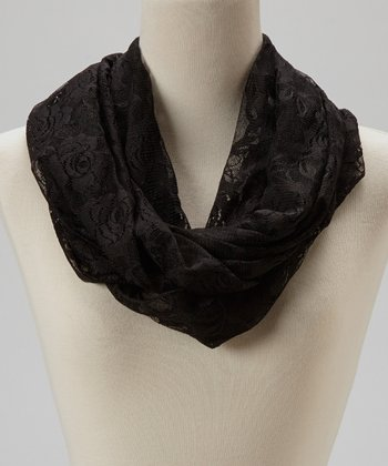 Black Rose Lace Infinity Scarf