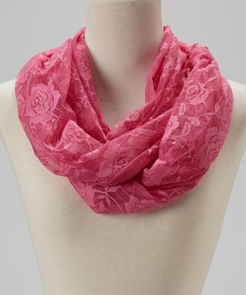 Hot Pink Rose Lace Infinity Scarf