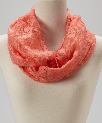 Orange Rose Lace Infinity Scarf