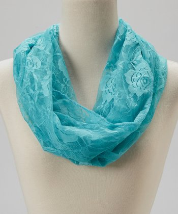 Light Blue Rose Lace Infinity Scarf