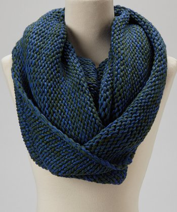 Blue & Green Knit Infinity Scarf