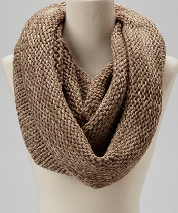 Taupe & Brown Knit Infinity Scarf