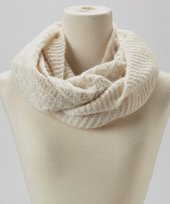 Ivory Mixed Knit Infinity Scarf