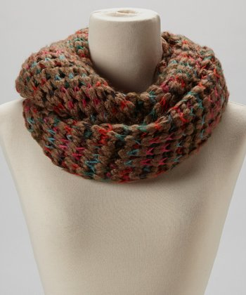 Cocoa & Red Knit Infinity Scarf