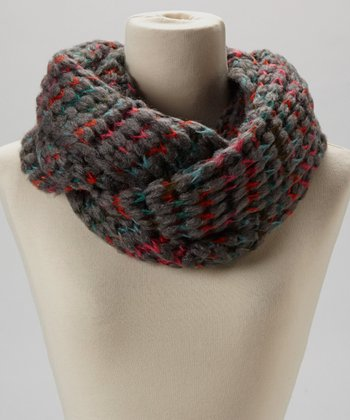 Charcoal & Red Knit Infinity Scarf