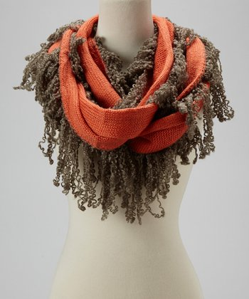 Orange Fringe Infinity Scarf