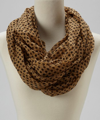 Brown Polka Dot Infinity Scarf