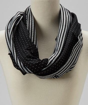 Black Stripe Reversible Infinity Scarf