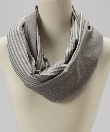 Gray Stripe Reversible Infinity Scarf