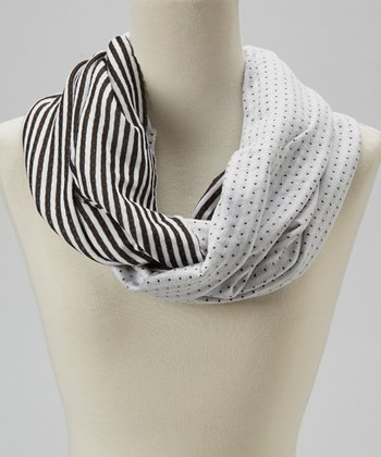 White Stripe Reversible Infinity Scarf