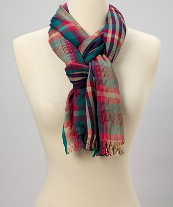 Blue & Pink Plaid Scarf