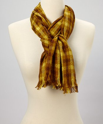 Brown & Mustard Plaid Scarf