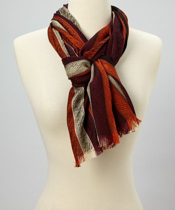 Orange & Taupe Stripe Scarf