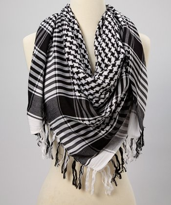 Black & White Houndstooth Scarf