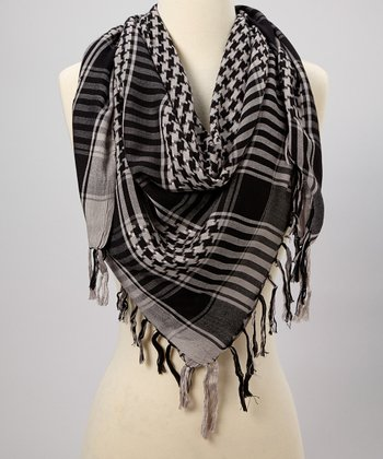 Black & Gray Houndstooth Scarf