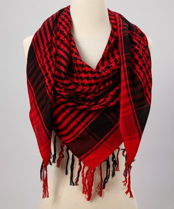 Red & Black Houndstooth Scarf
