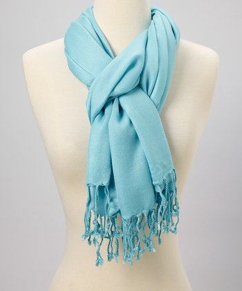 Light Blue Fringe Scarf