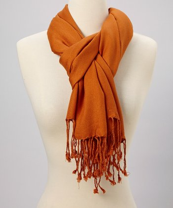 Orange Fringe Scarf
