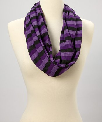 Purple & Black Stripe Infinity Scarf