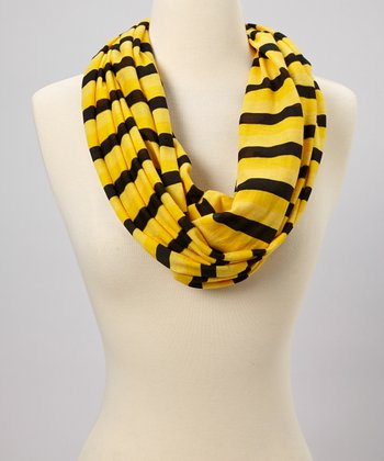 Yellow & Black Stripe Infinity Scarf