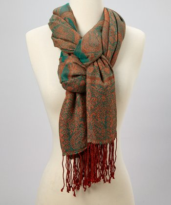 Orange & Green Paisley Scarf