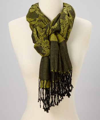 Green & Black Floral Scarf