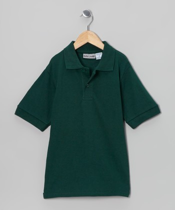 Hunter Green Pique Polo - Boys
